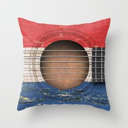 Old Vintage Acoustic Guitar with Dutch Flag Throw Pillow