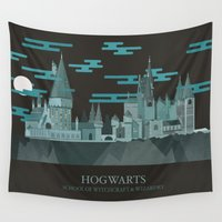 hogwarts Wall Tapestries featuring Hogwarts Castle  by PENLEY DESIGNS