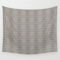 gray pattern Wall Tapestries featuring Gray Aztec Pattern by Corbin Henry