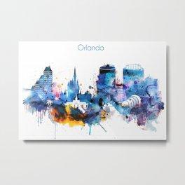 Watercolor Orlando skyline design Metal Print