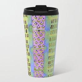 Blue Vertical Stripes and Ornaments  Travel Mug
