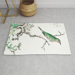Rubythroat Bird And Chamomile Flowers - Vintage Japanese Woodblock Print Art By Numata Kashu Rug