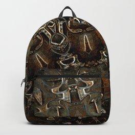 Steel Metal Brushed Bronze Textured Half Mandala Backpack