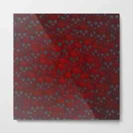 Subtle skull wall red Metal Print