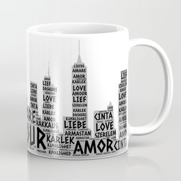 Brooklyn New York Buildings illustrated with Love Word of different languages Coffee Mug
