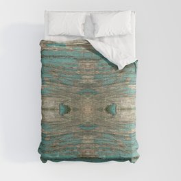 Weathered Rustic Wood - Weathered Wooden Plank - Beautiful knotty wood weathered turquoise paint Comforters
