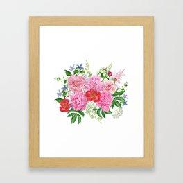 Bouquet of pink peonies Framed Art Print