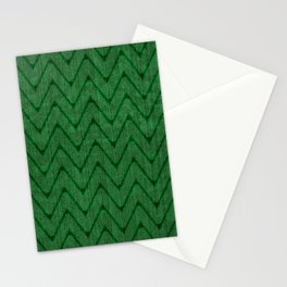 Faux Suede Kelly Green Chevron Pattern Stationery Cards