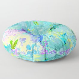 abstract floral Floor Pillow
