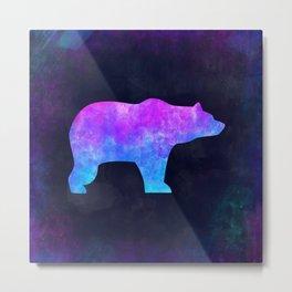 BEAR IN SPACE // Animal Graphic Art // Watercolor Canvas Painting // Modern Minimal Cute Metal Print