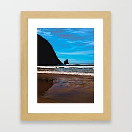 Hay Stack Rock in Half Framed Art Print