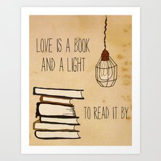Love Is A Book Art Print