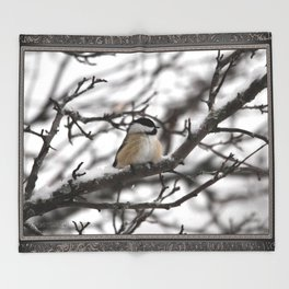 Winter Windblown Black-Capped Chickadee Throw Blanket