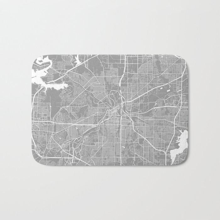 Fort Worth map grey Bath Mat