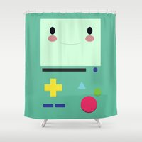 bmo Shower Curtains featuring BMO!!  by anthonykun