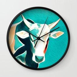 Blue Sky Cow Wall Clock
