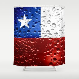 Flag of Chile - Raindrops Shower Curtain