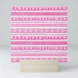 Valentine Hearts and Stripes Mini Art Print