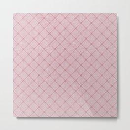 Faux Velvet Diamond Crisscross in Pink Metal Print