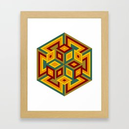Multicolor Geometric Hexagon Pattern with contrasting colors Framed Art Print