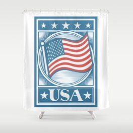 USA Flag Poster Shower Curtain