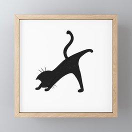 Black cat doing yoga Framed Mini Art Print