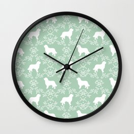 Bernese Mountain Dog florals dog pattern minimal cute gifts for dog lover silhouette mint and white Wall Clock