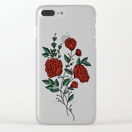 Dark Red Peonies Clear iPhone Case