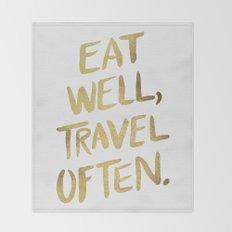 Eat Well Travel Often on Gold Throw Blanket