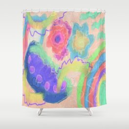 Fresh Start Abstract Digital Painting Shower Curtain