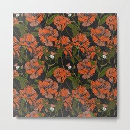 Autumnal flowering of poppies Metal Print