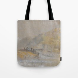 """J.M.W. Turner """"Foul by God - River Landscape with Anglers Fishing From a Weir"""" Tote Bag"""