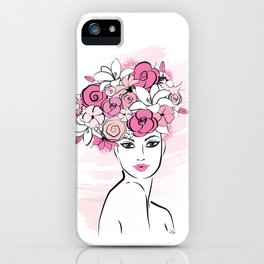 Pink Floral Hat Lady Fashion illustration art print iPhone Case