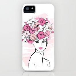 Pink Floral Hat Lady Fashion illustration art print iPhone Case