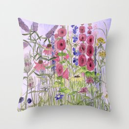 Watercolor Wildflower Garden Flowers Hollyhock Teasel Butterfly Bush Blue Sky Throw Pillow