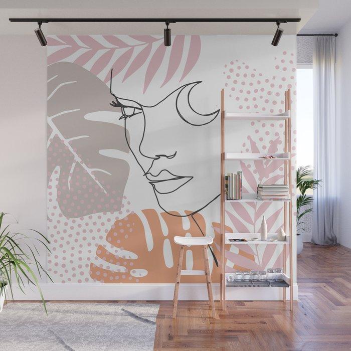 Jungle Line Girl Wall Mural