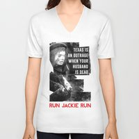 jfk V-neck T-shirts featuring Misfits JFK Poster Series - Your Husband is Dead by Robert John Paterson