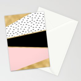 Pink & Gold Geometric Triangle Pattern Stationery Cards