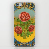 fez iPhone & iPod Skins featuring Vintage Fez Label with Roses by Connie Goldman