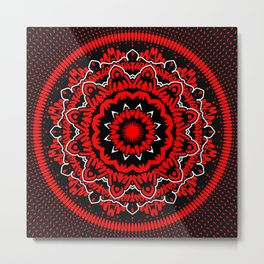 Mandala 009 Red White Black Metal Print