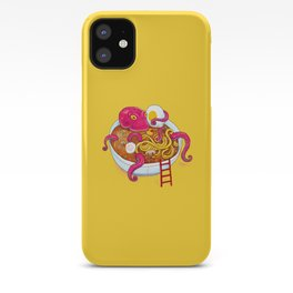 Bowl of ramen with octopus taking a bath iPhone Case