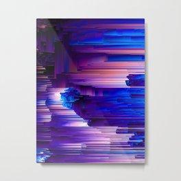 Glitchin' Blues - Abstract Pixel Art Metal Print
