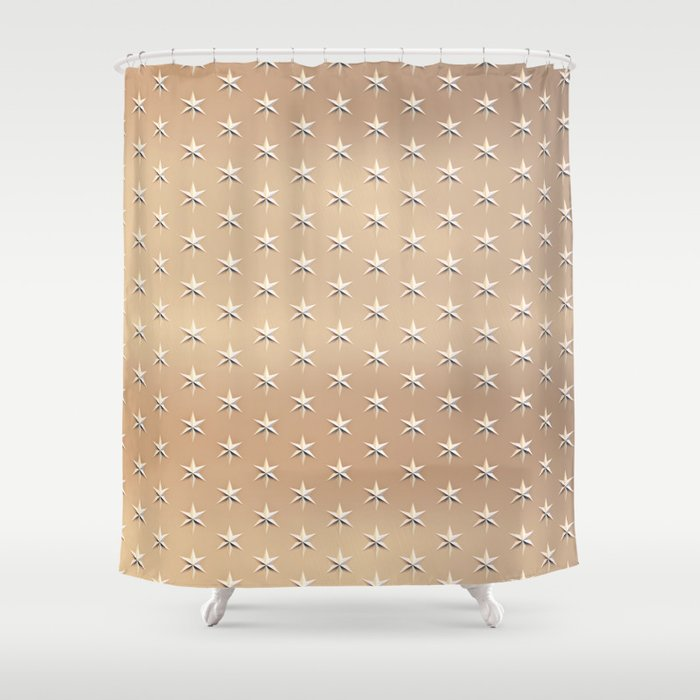 Shiny Silver Star Christmas Pattern On Gold Shower Curtain
