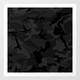 Camouflage Black Art Print