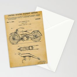 1919 Paper Vertical Motorcycle Patent Blueprint Stationery Cards