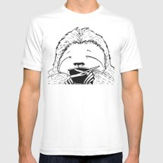 Hungry Sloth MEDIUM Mens Fitted Tee White