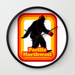 Retro Sasquatch Pacific Northwest Wall Clock