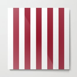 Royal red - solid color - white vertical lines pattern Metal Print