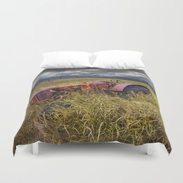 Abandoned Farm Tractor on the Prairie Duvet Cover