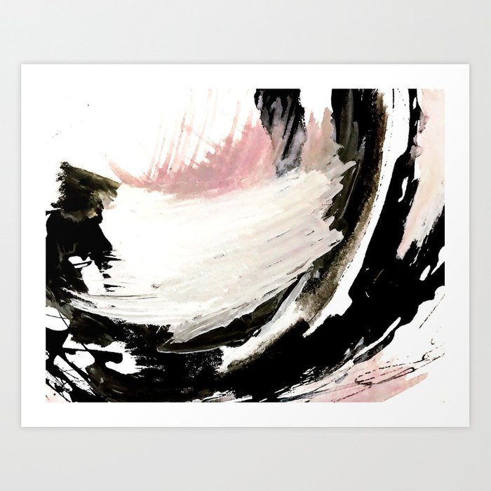 Crash: an abstract mixed media piece in black white and pink Art Print